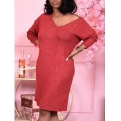 Lovely Casual V Neck Red Knee Length T-shirt Dress