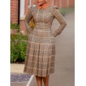 Lovely Stylish Turndown Collar Plaid Print Brown K