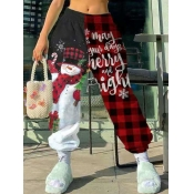 Lovely Trendy Santa Claus Plaid Letter Print Wine