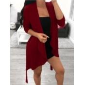 Lovely Trendy Long Sleeve Asymmetrical Wine Red Co