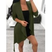 Lovely Trendy Long Sleeve Asymmetrical Army Green