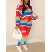 Lovely Casual Hooded Collar Gradient Multicolor Tw