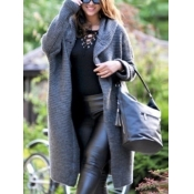 Lovely Casual Hooded Collar Long Long Grey Plus Si