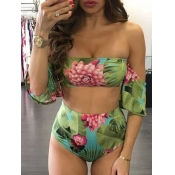 Lovely Sweet Floral Print Patchwork Green Two-piec