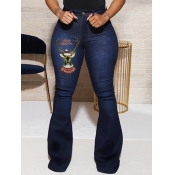 Lovely Trendy Animal Print Flared Deep Blue Jeans