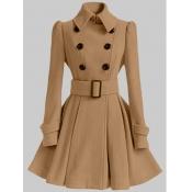 Lovely Trendy Button Fold Design Khaki Woolen Coat