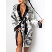 Lovely Street Money Print Lace-up Black Trench Coa