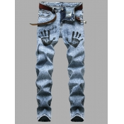 Lovely Casual Palm Print Elastic Baby Blue Men Jea