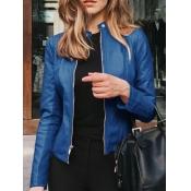 Lovely Casual Mandarin Collar Zipper Design Blue L