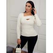 Lovely Trendy Hollow-out Cross-over Design White S