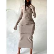 Lovely Casual Hooded Collar Basic Skinny Khaki Mid