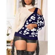 Lovely Stylish Patchwork Hollow-out Navy Blue Swea