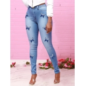 Lovely Trendy High-waisted Butterfly Print Blue Je