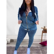 Lovely Casual Hooded Collar Tie Dye Blue Two Piece