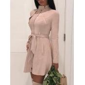 Lovely Formal Lace-up Pocket Design Pink Leather