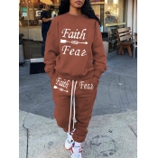Lovely Casual O Neck Letter Print Coffee Two Piece Pants Set