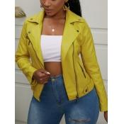 Lovely Casual Turndown Collar Zipper Design Yellow
