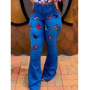 Lovely Casual Butterfly Print Dark Blue Plus Size