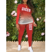 Lovely Trendy Gradient Letter Print Red Plus Size