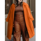Lovely Casual Turndown Collar Pocket Design Brown