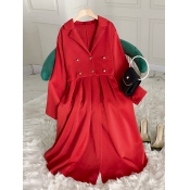 Lovely Stylish Turndown Collar Ruffle Design Red Trench Coat