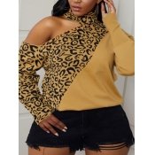 Lovely Trendy Leopard Print Patchwork Hollow-out P