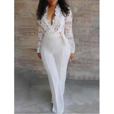 Lovely Formal V Neck Lace Stitching White One-piec