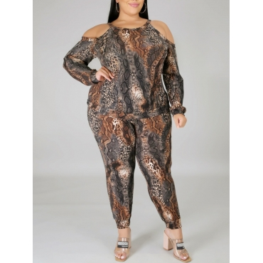 Lovely Trendy Print Hollow-out Multicolor Plus Siz
