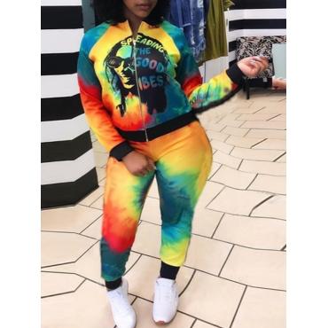 Lovely Sportswear Tie Dye Letter Print Multicolor