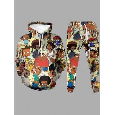 Lovely Street Hooded Collar Cartoon Print Multicol