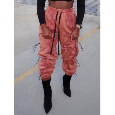 Lovely Street Tie-dye Drawstring Pink Pants