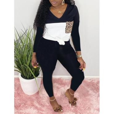 LW Casual V Neck Patchwork Black Two Piece Pants Set