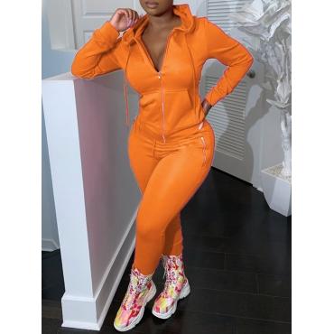 LW Casual Hooded Collar Zipper Design Orange Two Piece Pants Set