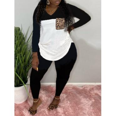 LW Plus Size Casual V Neck Patchwork Black Two-piece Pants Set