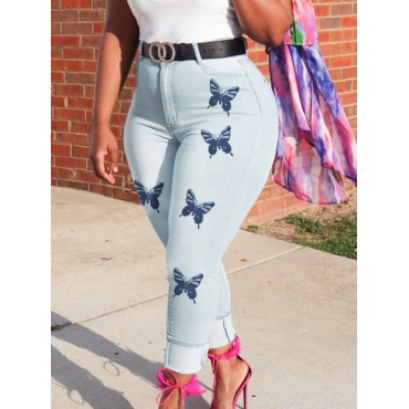 Lovely Casual Butterfly Print Baby Blue Jeans