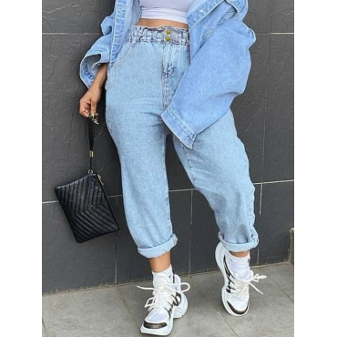 Lovely Casual Basic Loose Baby Blue Jeans