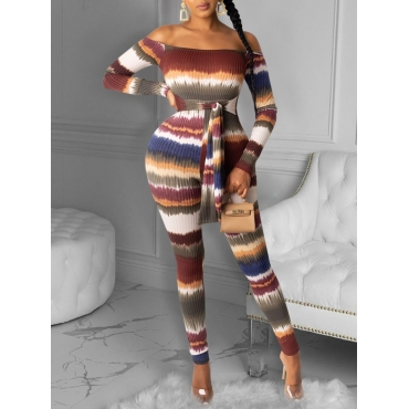 Lovely Sexy Off The Shoulder Tie-dye Print Backles