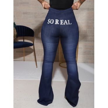 Lovely Street Letter Print Flared Deep Blue Jeans