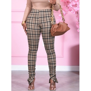 Lovely Casual Mid Waist Plaid Grey Pants
