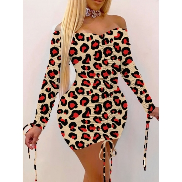 Lovely Casual Off The Shoulder Leopard Print Red M