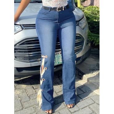 Lovely Stret Bandage Hollow-out Design Blue Jeans