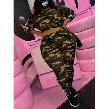 Lovely Sportswear Camo Print Striped Patchwork Plu
