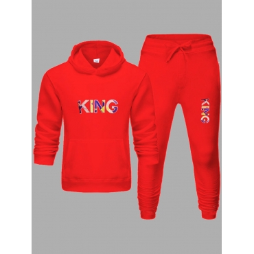 LW Men Street Hooded Collar Letter Print Red Two Piece Pants Set