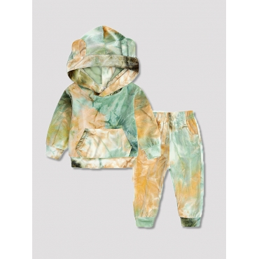 Lovely Casual Hooded Collar Tie Dye Olive Boy Two