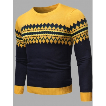 Lovely Casual Color-lump Stitching Yellow Men Swea