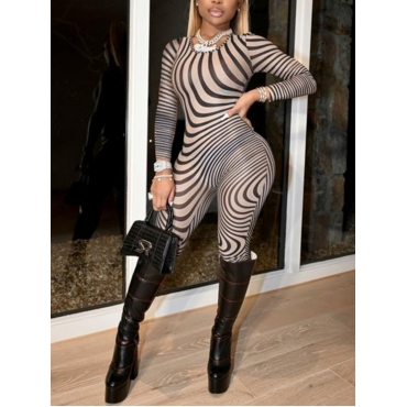 Lovely Party Striped See-through Black One-piece J