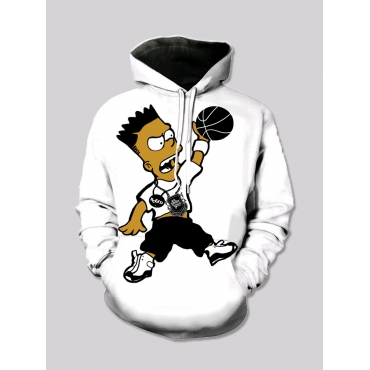 Lovely Street Cartoon Print Patchwork White Boy Ho