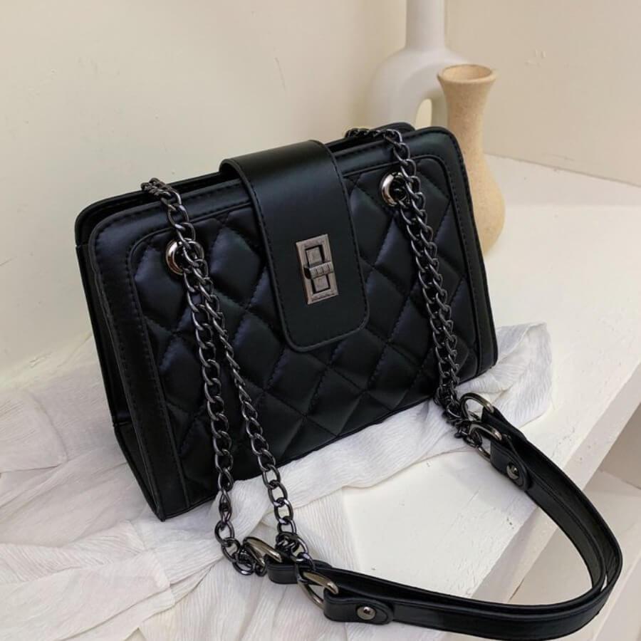 LW BASICS Trendy Metal Accessories Decoration Black Crossbody Bags