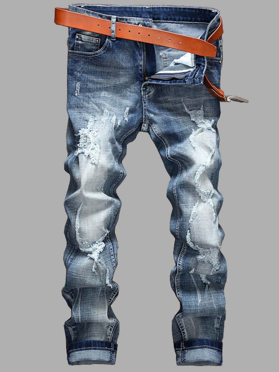LW Men Casual Denim Ripped Gradient Print Jeans
