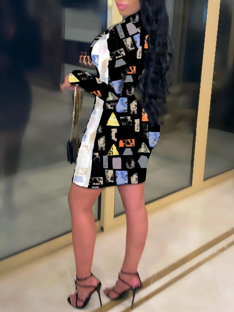 Lovely Color Geometry Casual Geometric Print Patchwork Black Mini Dress(No-positioning Printing)